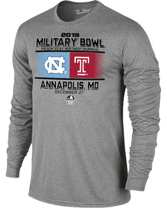 North Carolina Tar Heels V Temple Owls 2019 Military Bowl Long Sleeve T-Shirt