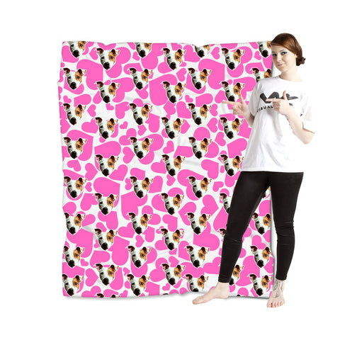 Puppy Love Blanket - Pink/White