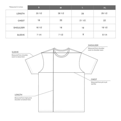 Size Chart Our Grey T-Shirt