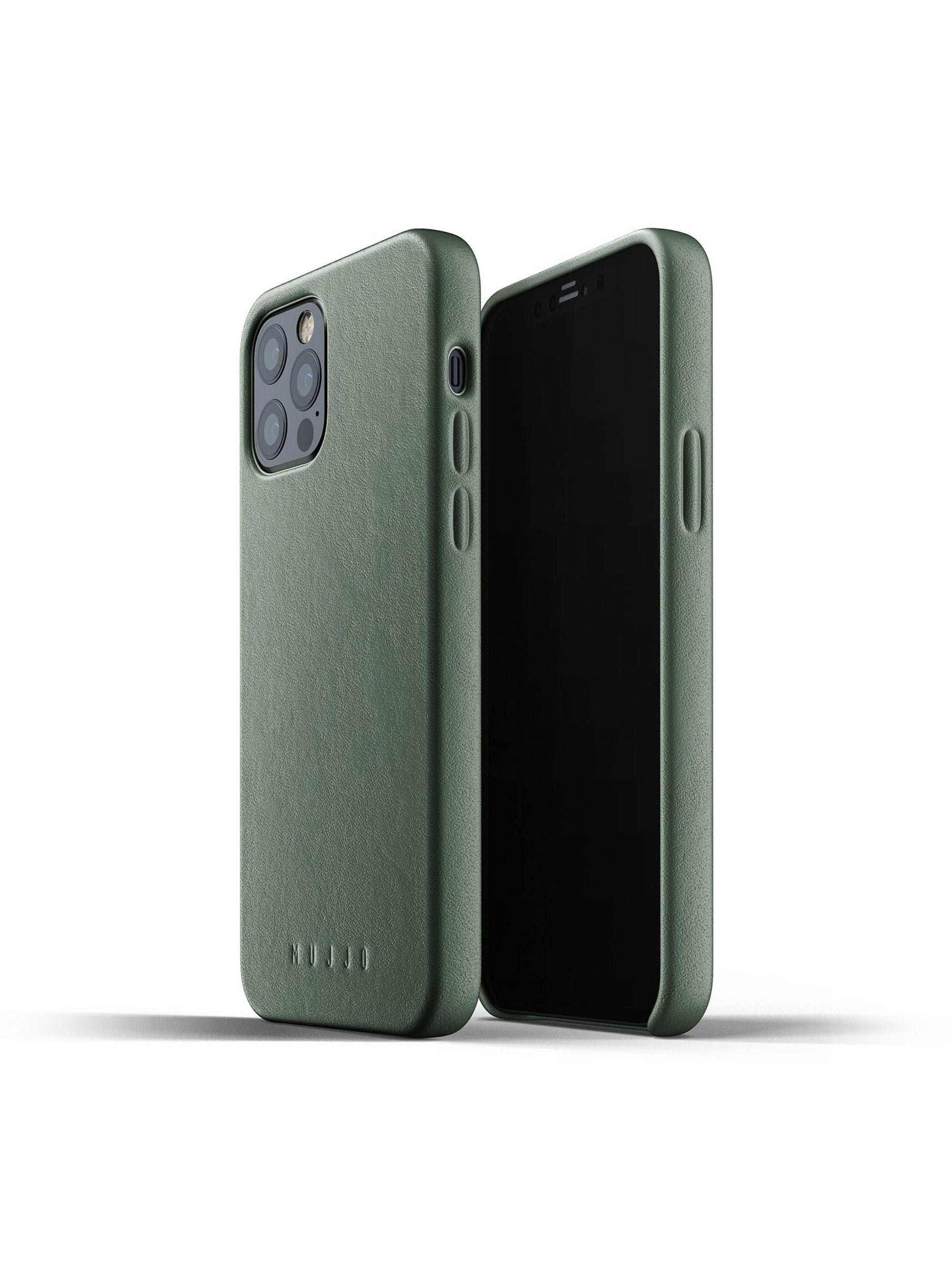 Mujjo Full Leather Case for iPhone 12 & 12 Pro Slate Green