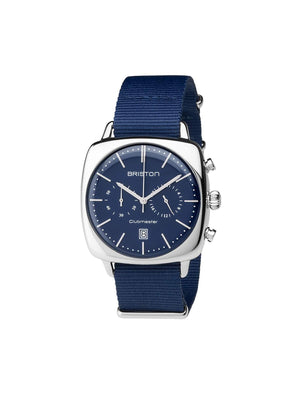 Briston Clubmaster Vintage Steel Chronograph Navy Blue Matt Dial Navy Blue Nato Strap 40mm - MORE by Morello Indonesia