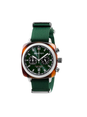 Briston Clubmaster Sport Acetate Chronograph Tortoise Shell British Green Sunray Dial 42mm
