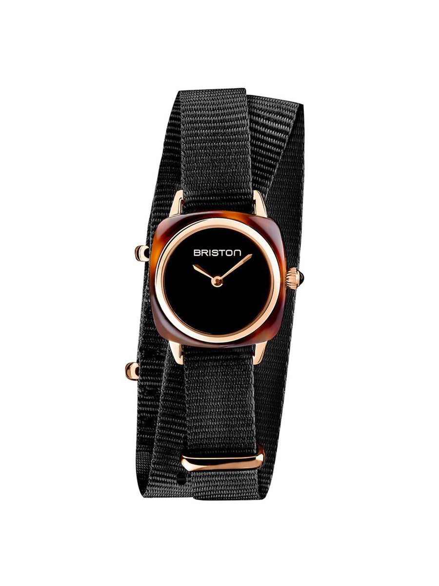 Briston Clubmaster Lady Acetate HM Tortoise Shell Black Dial Rose Gold Black Double Tour Nato Strap 24mm - MORE by Morello Indonesia