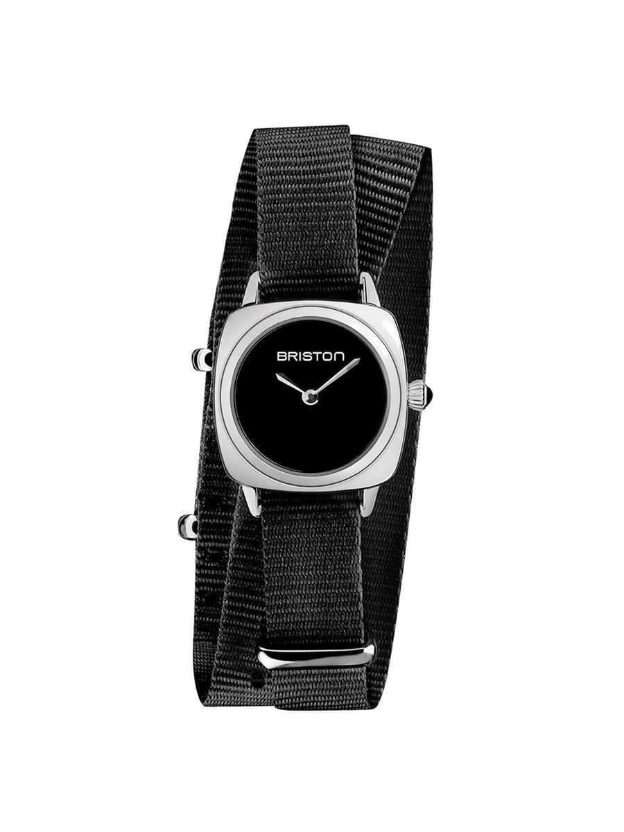 Briston Clubmaster Lady Steel HM Black Dial Black Double Tour Nato Strap 24mm - MORE by Morello Indonesia