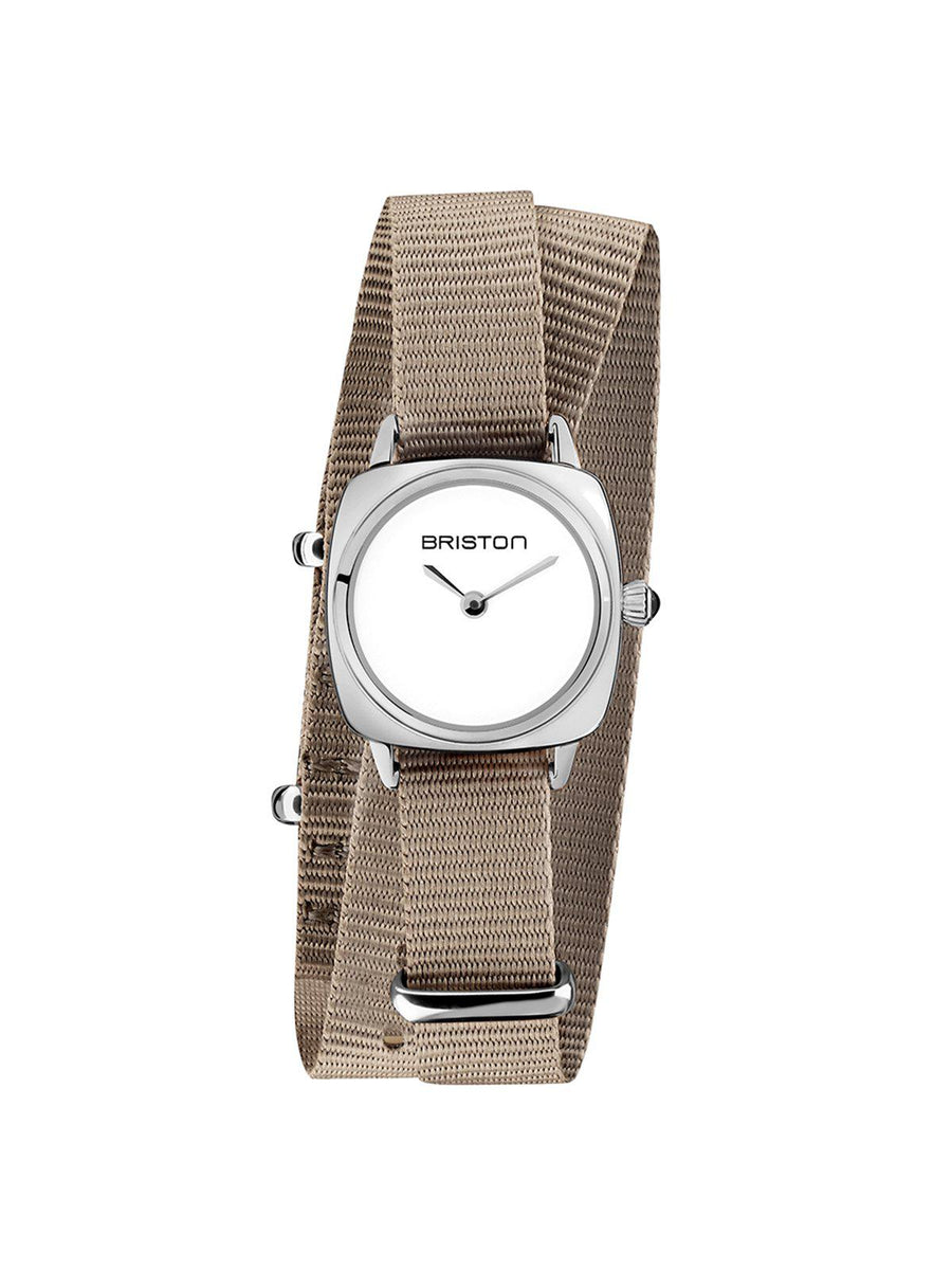 Briston Clubmaster Lady Steel HM White Dial Taupe Double Tour Nato Strap 24mm - MORE by Morello Indonesia