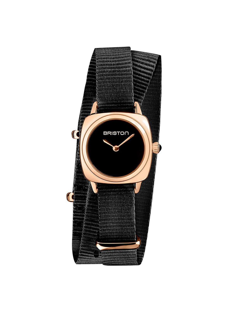 Briston Clubmaster Lady Steel HM Black Dial Rose Gold Black Double Tour Nato Strap 24mm - MORE by Morello Indonesia