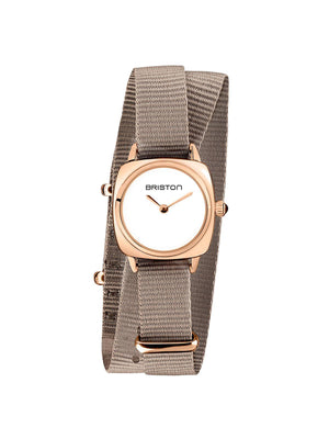 Briston Clubmaster Lady Steel HM White Dial Rose Gold Taupe Double Tour Nato Strap 24mm - MORE by Morello Indonesia