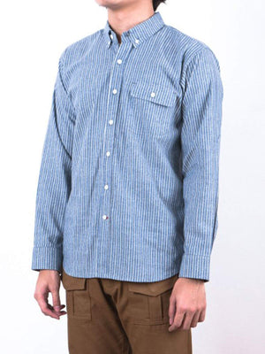 Qutn Work Shirt II Blue Striped Chambray