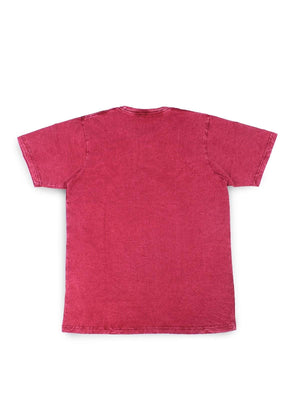 Jackhammer Acid Wash Crewneck Tee Punch Red