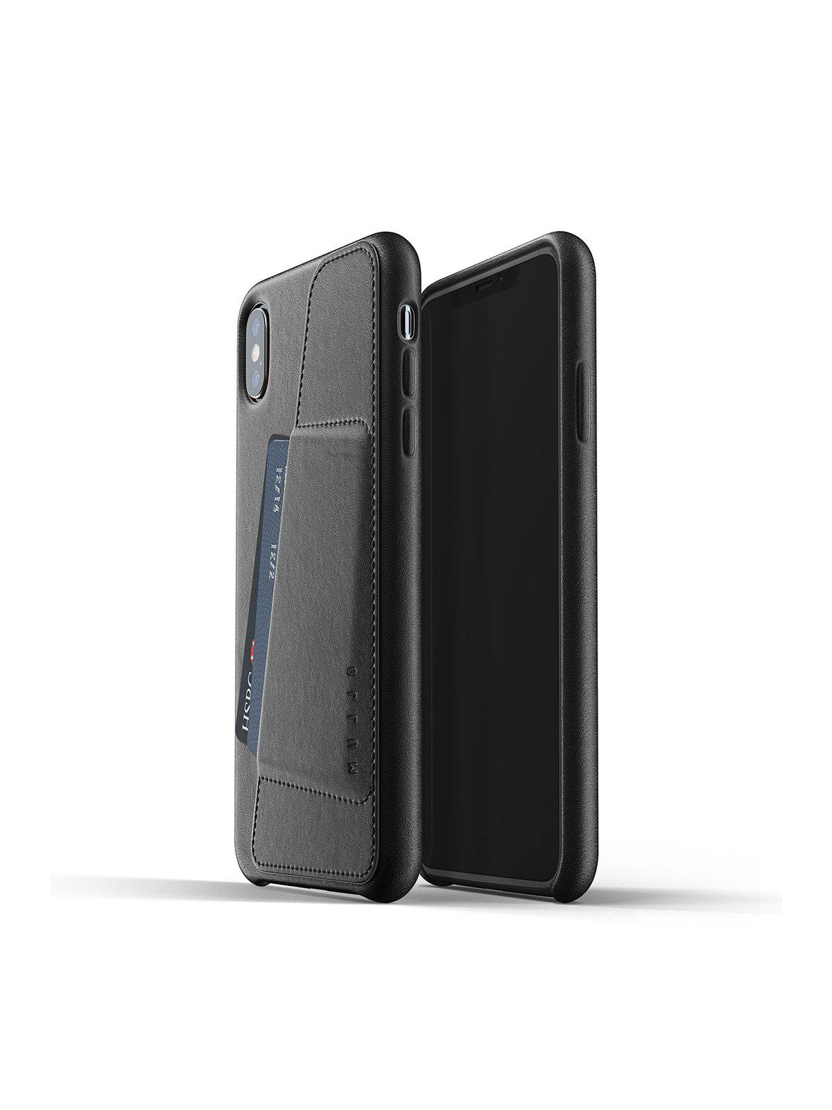 Mujjo Full Leather Wallet Case for iPhone XS Max Black - MORE by Morello Indonesia
