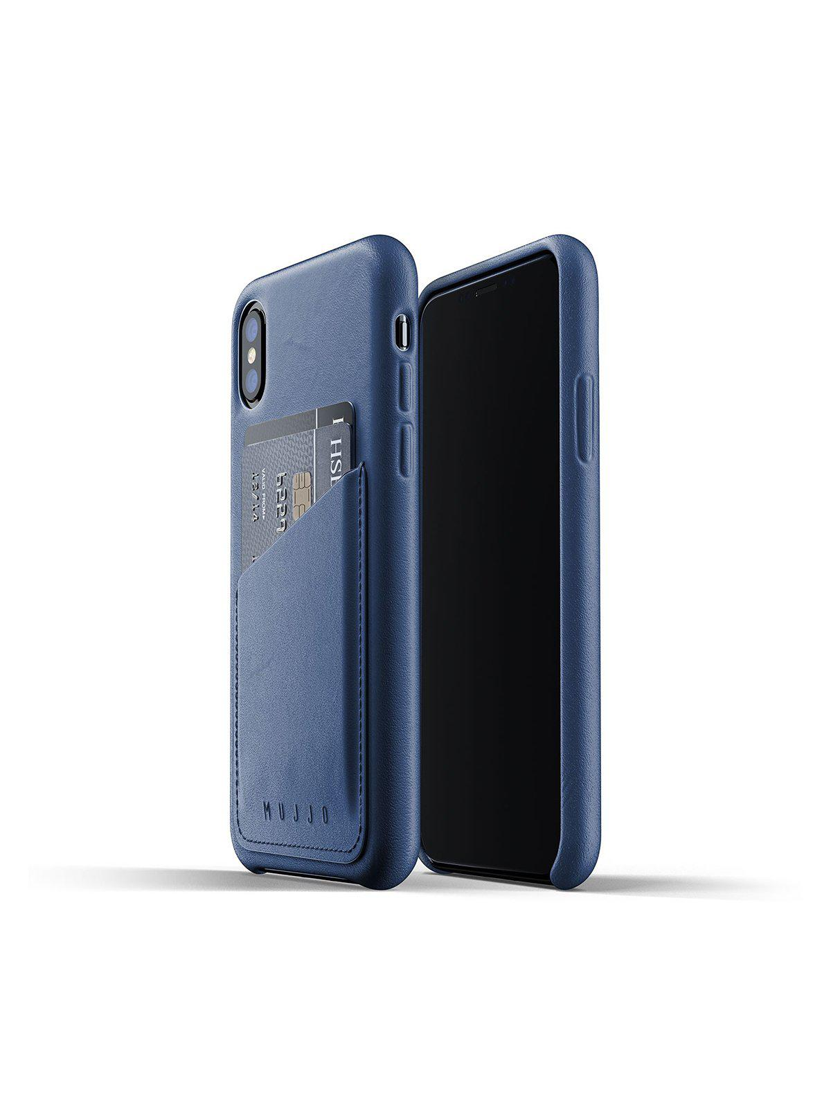 Mujjo Full Leather Wallet Case for iPhone XS Monaco Blue - MORE by Morello Indonesia