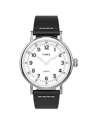Timex Standard TW2T69200 40mm Silver Tone Black Leather Strap - MORE by Morello Indonesia