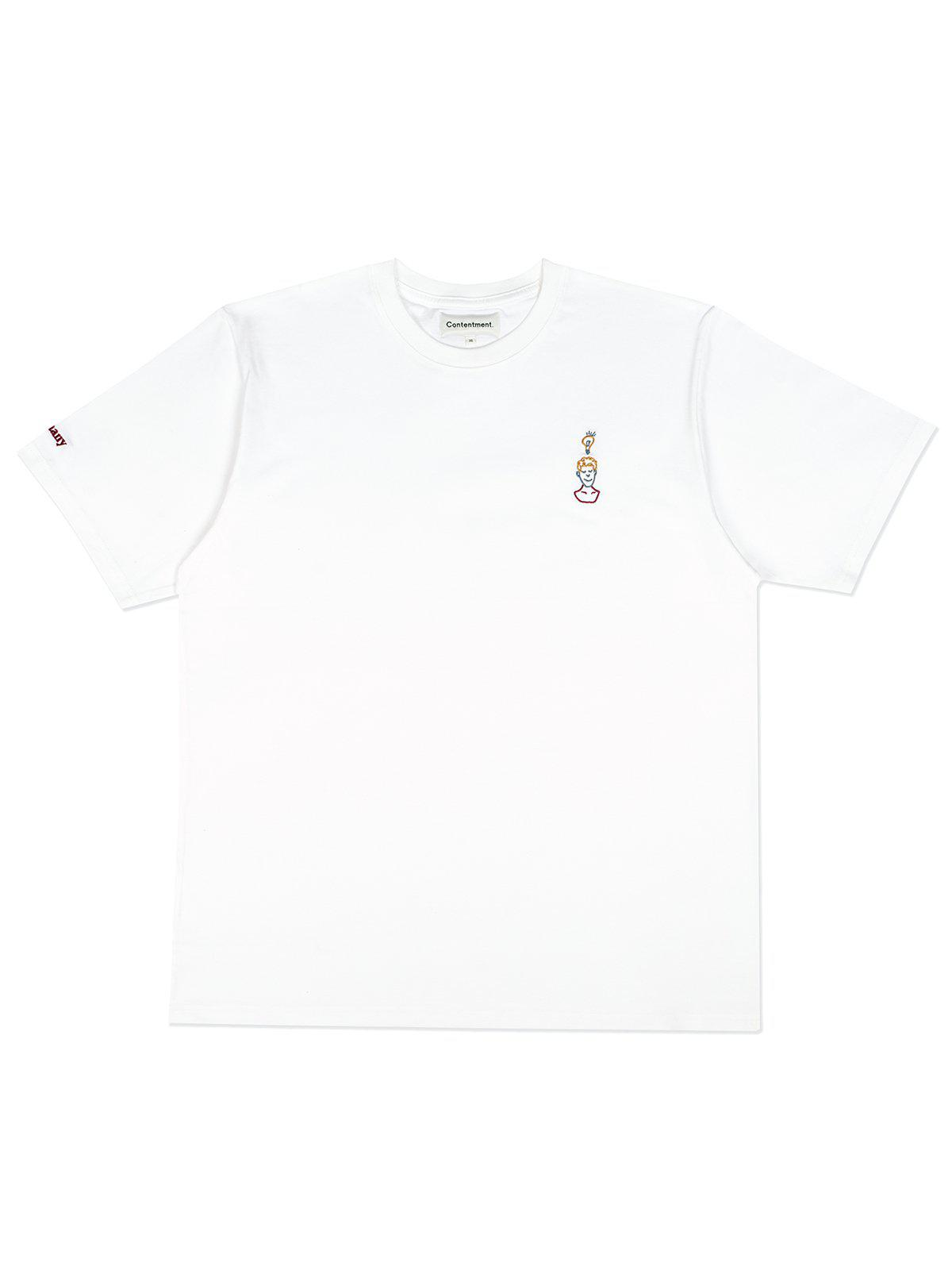 Contentment. EUREKA Embroidery T-Shirt White - MORE by Morello Indonesia