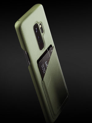 Mujjo Full Leather Wallet Case for Galaxy S9 Plus Olive - MORE by Morello Indonesia