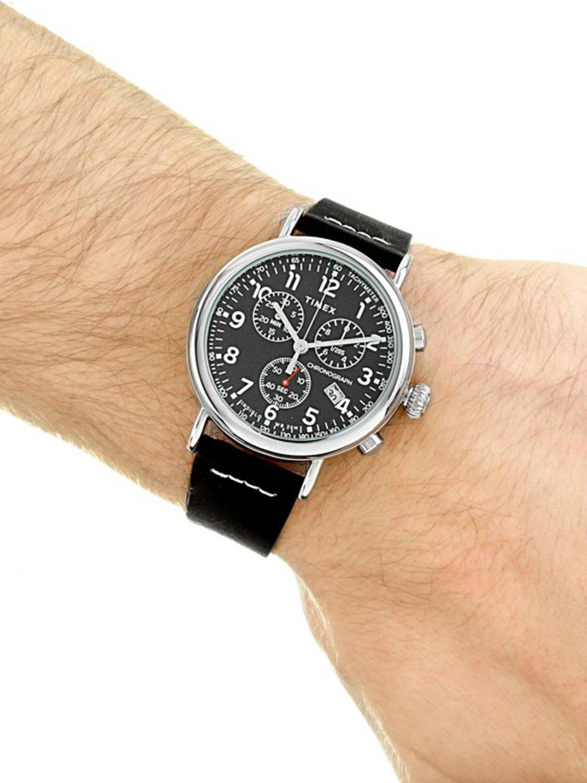 Timex Standard Chrono TW2T69100 41mm Silver Tone Black Leather Strap - MORE by Morello Indonesia