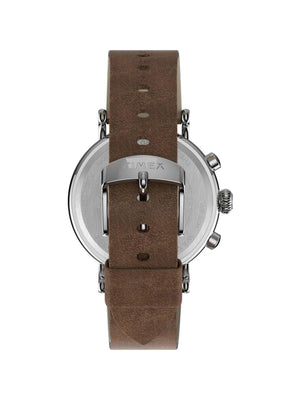 Timex Standard Chrono TW2T68900 41mm Silver Tone Brown Leather Strap - MORE by Morello Indonesia