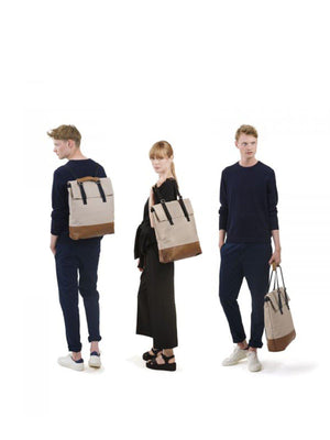 Qwstion Day Tote Brown Leather Canvas