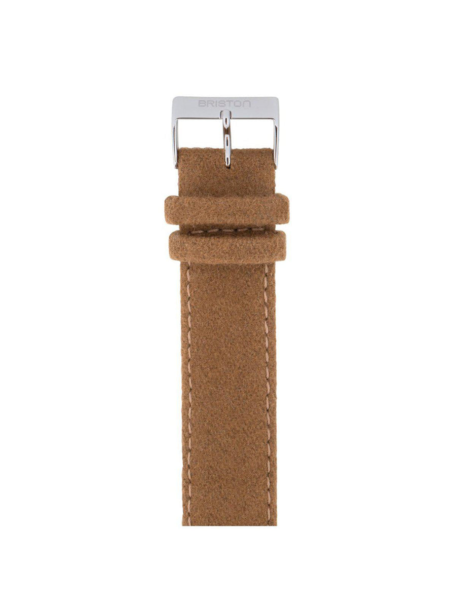 Briston Leather Flannel Strap Camel Polished Steel 20mm - MORE by Morello Indonesia