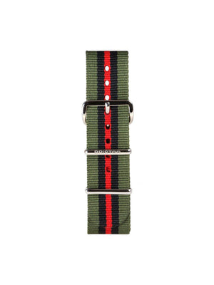 Briston Nato Strap Green Black Red Stripes Polished Steel 20mm - MORE by Morello Indonesia