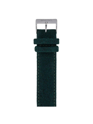 Briston Leather Flannel Strap British Green Polished Steel 20mm - MORE by Morello Indonesia