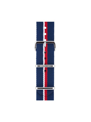 Briston Nato Strap Navy Blue White Red Stripes Polished Steel 20mm - MORE by Morello Indonesia