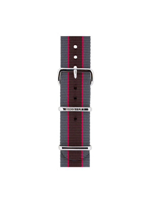 Briston Nato Strap Grey Pink Dark Brown Stripes Polished Steel 20mm - MORE by Morello Indonesia