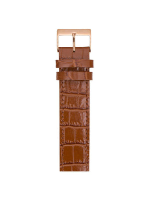 Briston Luxury Leather Strap Brown Alligator Rose Gold 20mm - MORE by Morello Indonesia