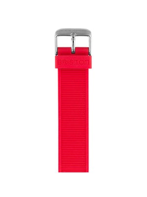 Briston Rubber Strap Red Polished Steel 18mm - MORE by Morello Indonesia