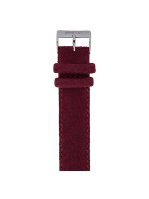 Briston Leather Flannel Strap Burgundy Polished Steel 20mm - MORE by Morello Indonesia