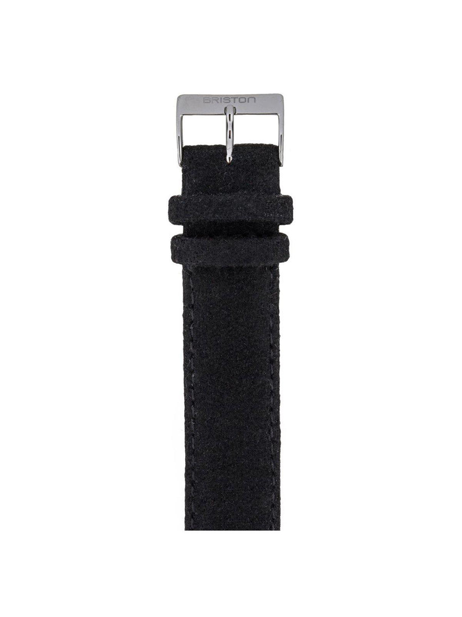 Briston Leather Flannel Strap Black Polished Steel 20mm - MORE by Morello Indonesia