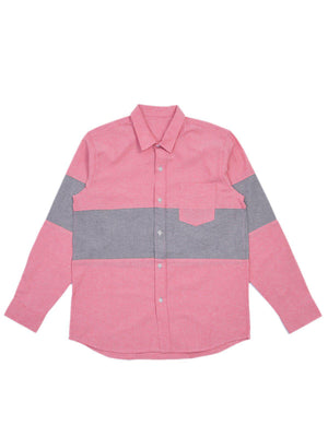 Jackhammer Oxford Panel Shirt Red - MORE by Morello Indonesia