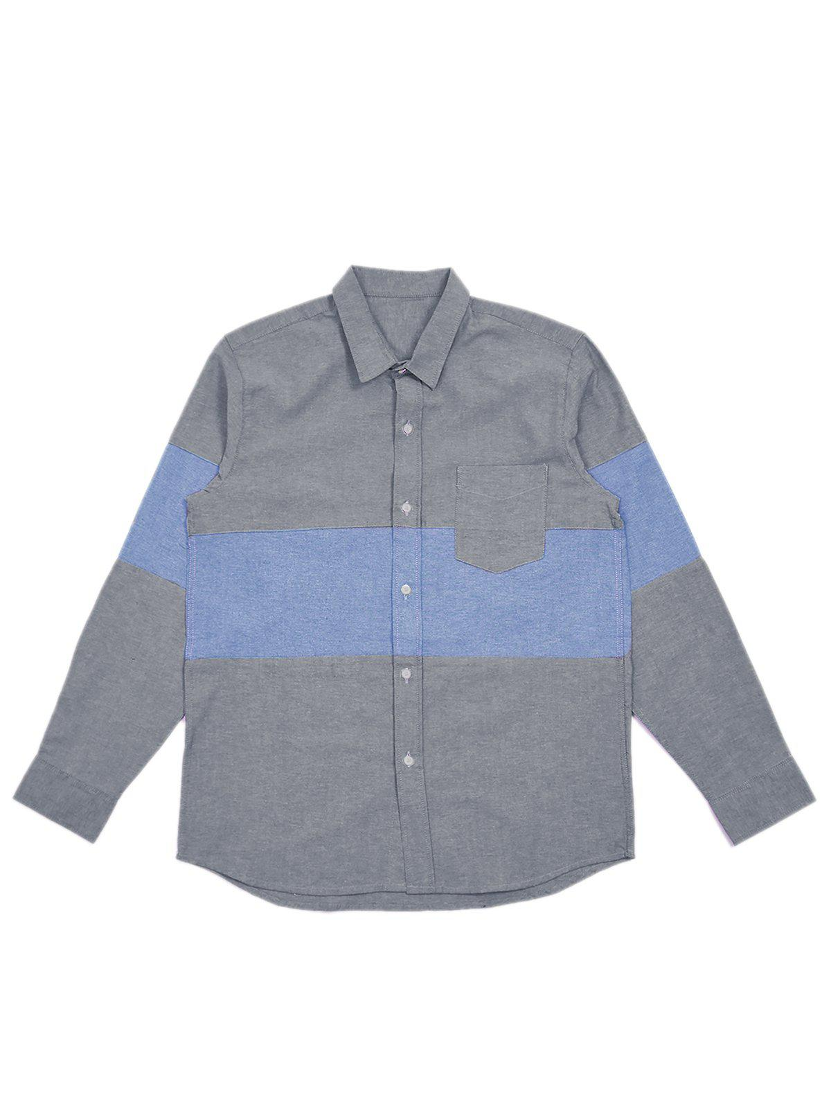Jackhammer Oxford Panel Shirt Grey - MORE by Morello Indonesia
