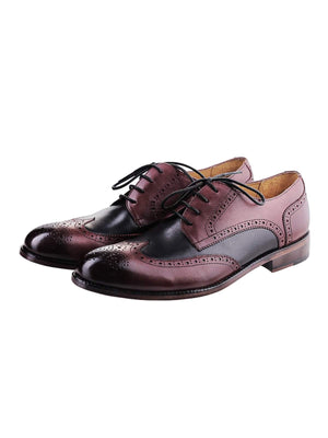 Heimdall Loki Wingtip Derby Two Tone Black Dark Burgundy - MORE by Morello Indonesia
