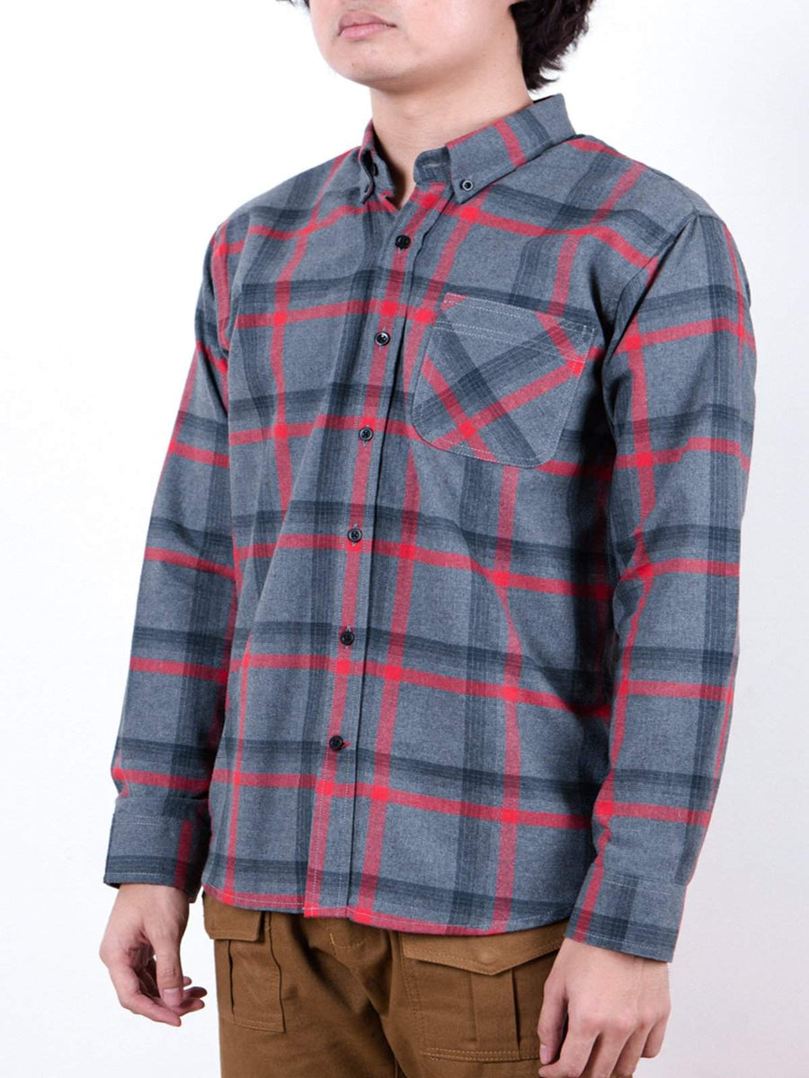 Qutn Button Down LS Grey Red Flannel Shirt-Shirts-Qutn-MORE by Morello