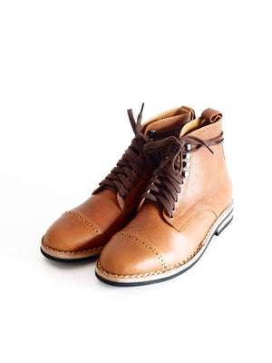 Chevalier Captoe Boots Havana Brown Two Row Stitched