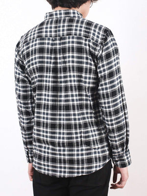 Qutn Button Down LS White Black Flannel Shirt - MORE by Morello Indonesia