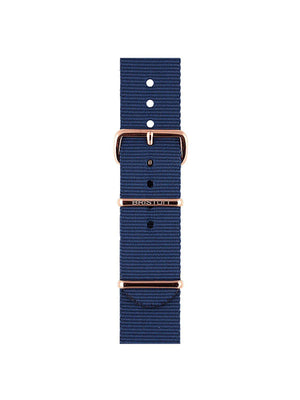 Briston Nato Strap Navy Blue Rose Gold 20mm - MORE by Morello Indonesia