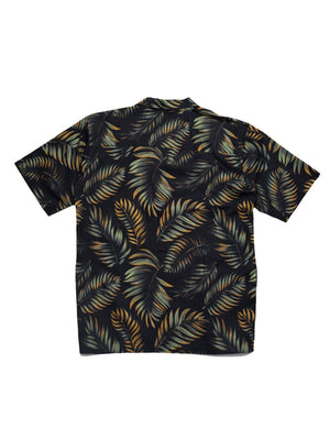 Qutn Hawaiian Shirt SS Black Tropical Leaves - MORE by Morello Indonesia
