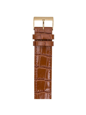 Briston Luxury Leather Strap Brown Alligator Yellow Gold 20mm - MORE by Morello Indonesia