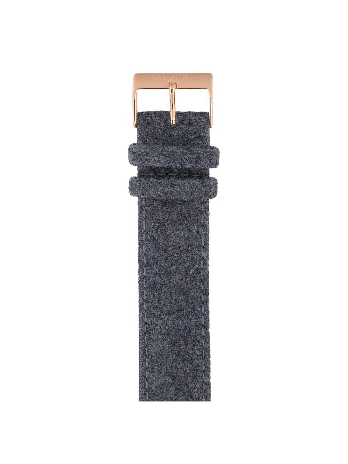 Briston Leather Flannel Strap Grey Rose Gold 20mm - MORE by Morello Indonesia