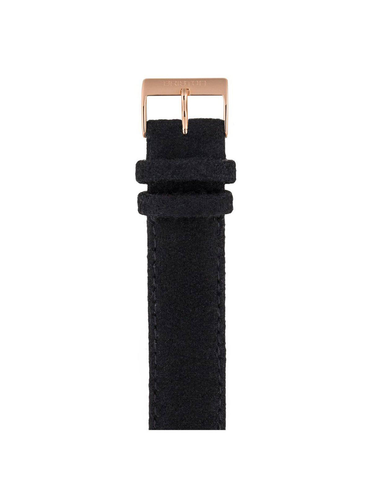 Briston Leather Flannel Strap Black Rose Gold 20mm - MORE by Morello Indonesia