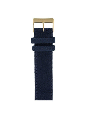 Briston Leather Flannel Strap Navy Blue Yellow Gold 20mm - MORE by Morello Indonesia