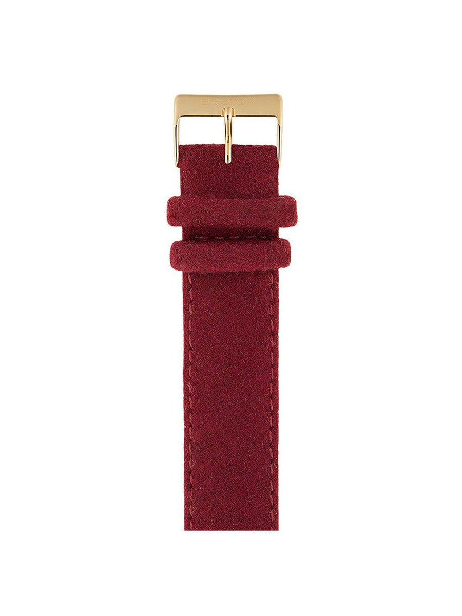 Briston Leather Flannel Strap Burgundy Yellow Gold 20mm - MORE by Morello Indonesia