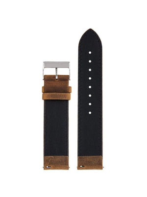 Briston 2-Part Vintage Leather Strap Brown Polished Steel 20mm - MORE by Morello