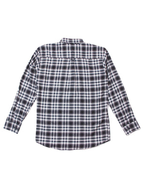 Qutn Button Down LS White Black Flannel Shirt-Shirts-Qutn-MORE by Morello