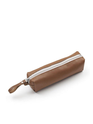 Qwstion Pencil Case Brown Leather Canvas