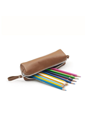 Qwstion Pencil Case Brown Leather Canvas - MORE by Morello Indonesia