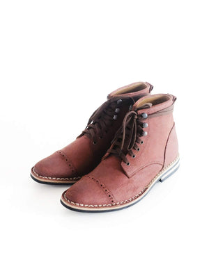 Chevalier Captoe Boots Roughout Secret Brown Two Row Stitched