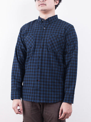Qutn Button Down Double Pocket LS Blue Black Minicheck Flannel - MORE by Morello Indonesia