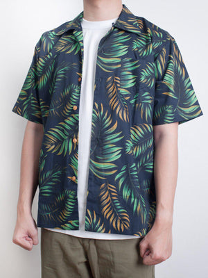 Qutn Hawaiian Shirt SS Navy Tropical Leaves - MORE by Morello Indonesia